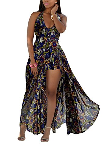 Womens Halter Floral Chiffon Maxi Dress Overlay Rompers Jumpsuit Playsuit (Plus Size Rompers)