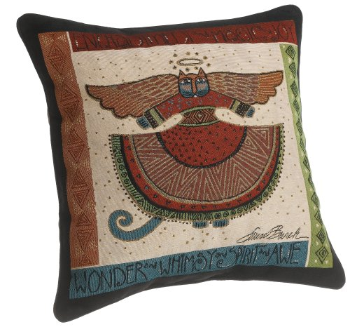 iTech More Laurel Burch 18-inch Angelicat Square Pillow - PLUSH FILLING that provides extreme comfort and support for lounging around PERFECTLY VERSATILE designs to accent your bed or sofa as a throw pillow CONSITENT HIGH-END QUALITY from one of the top decorative pillow manufacturers, Brentwood Originals. - living-room-soft-furnishings, living-room, decorative-pillows - 51 RpaqzotL -