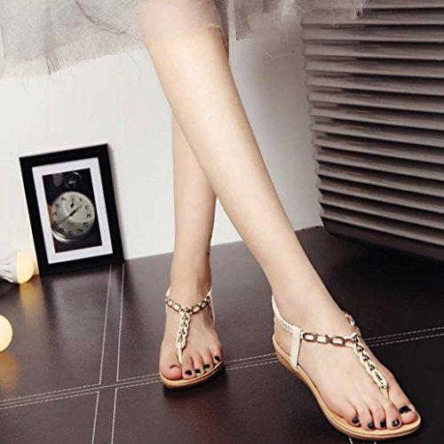 Baño Bohemio Beige Playa Vestir para Verano Mujer y QinMM de de Chanclas Zapatos Sandalias de qTvER