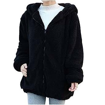 Comemall Teen Girls Warm Bear Ears Fleece Hoodie Outerwear