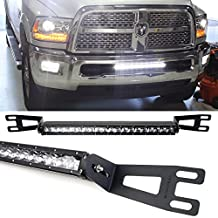 "iJDMTOY Complete 20-21"" 100W High Power CREE LED Light Bar with Lower Bumper Grille Mounting Brackets and On/Off Switch Wiring Kit For 2003-2016 Dodge RAM 2500 3500"