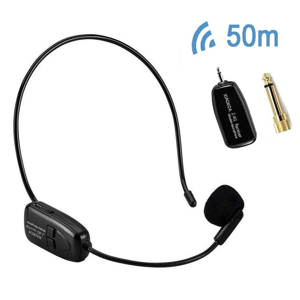 XIAOKOA 2.4G Wireless Microphone, 40m Stable Wireless Transmission, Headset And Handheld 2 In 1, For Voice Amplifier, Camera Recording, Speaker, Iphone, Computer Online Chatting(N-80) by XIAOKOA