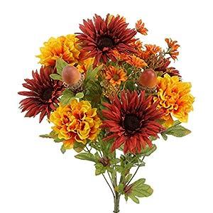 Admired By Nature 4 Piece 14 Stems Home Office/Wedding/Restaurant Decoration Arrangement Artificial Gerbera Daisy/Marigold/Acorn Mixed Flowers Bush 117