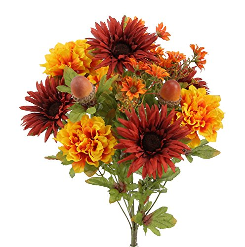 Admired By Nature GPB6434-BG_GD 4 Piece 14 Stems Home Office/Wedding/Restaurant Decoration Arrangement Artificial Gerbera Daisy/Marigold/Acorn Mixed Flowers Bush, Burgundy/Gold -