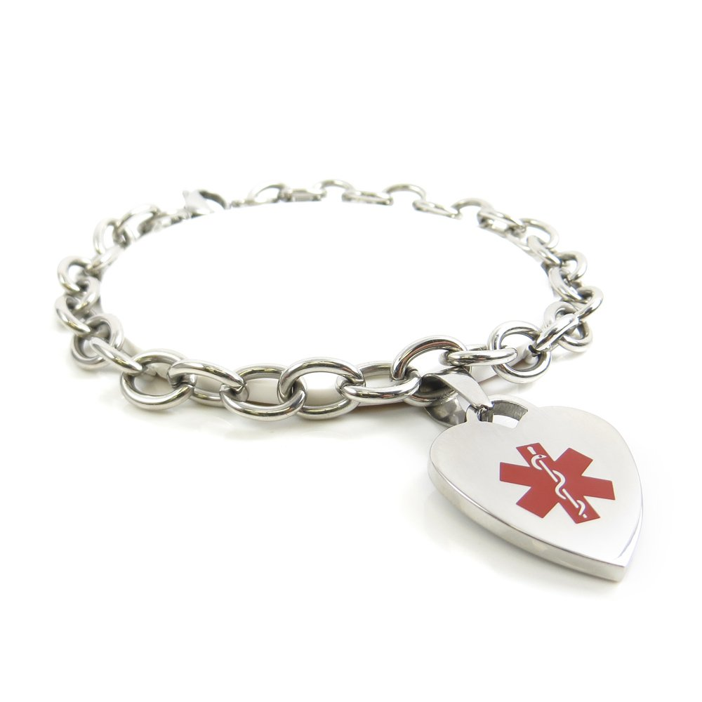 My Identity Doctor - Custom Engraved Womens Medical Alert Bracelet, O-Link - Red