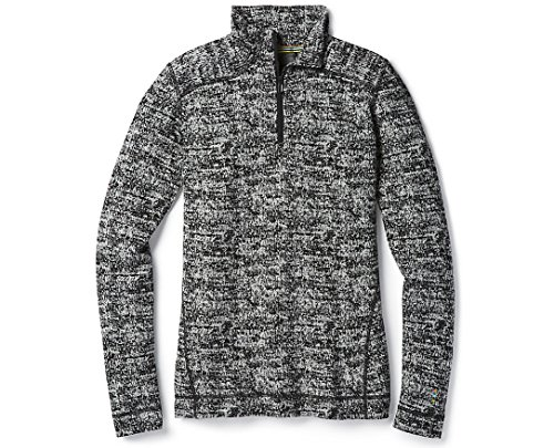 SmartWool Women's NTS Mid 250 Pattern Zip Top Black/Moonbeam Heather Medium (Merino Wool Zip Top)
