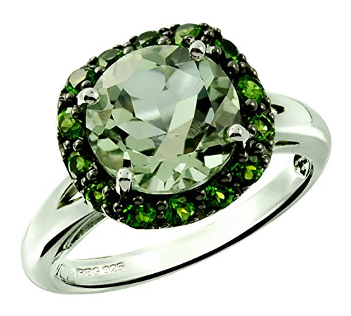 (RB Gems Sterling Silver 925 Ring GENUINE GEMS 3.30 Cts, Round 9 mm, RHODIUM-PLATED Finish, Flower Style (6, prasiolite-quartz))