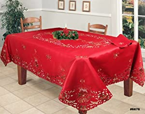 Holiday Christmas Embroidered Poinsettia Candle Tablecloth 70x140