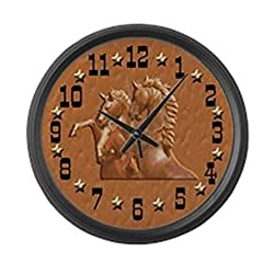 CafePress - Western Theme Clock - Large 17 Round Wall Clock, Unique Decorative Clock