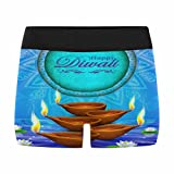 InterestPrint Boxer Briefs Men's Underwear Diwali Holiday Greeting Card with Burning Diya and Lotus Flowers XXL