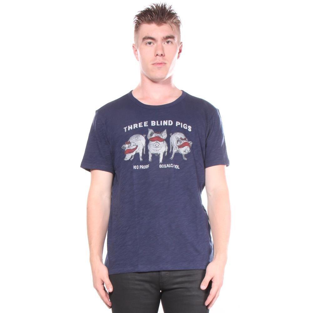 Lucky Brand Men's Three Blind Pigs Graphic TEE, American Navy, M