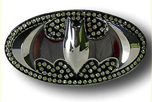 Batman Dark Knight Rises 3d Silver Bat in Black Rhinestone Oval Finishing Belt Buckle.