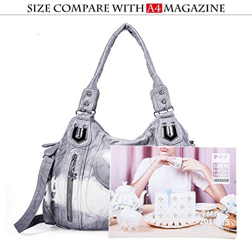 Handbag Satchel Women Street Ak812 Tote Grey Women ladies' Hobo 2z for Bag PU Shoulder Handbag Multiple Pockets Bag Fashion Roomy OaOrq
