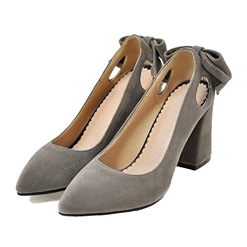 Pull Odomolor Pumps On AmagooTer Women's Heels Closed Solid Gray Shoes High Frosted Toe wqaFq6