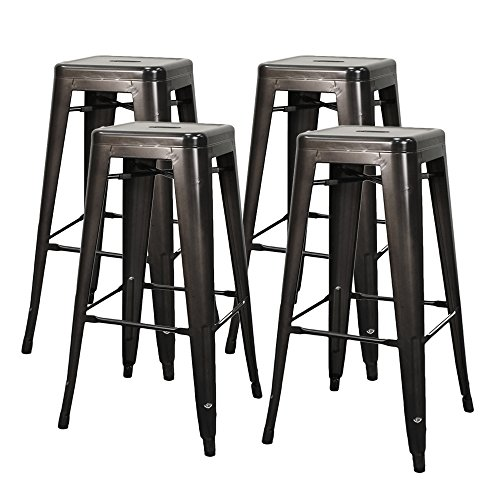 New Pacific Direct Metropolis 30'' Metal Backless Bar Stool, Gunmetal Gray, Set of 4 by New Pacific Direct
