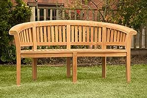 Teca maciza HGG bananos - banco de jardín banco de madera curvada - completamente montado - Mobiliario de jardín - Patio al aire libre muebles de jardín de madera maciza