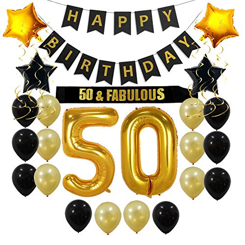 50th Birthday Decorations Party Supplies Gift for Men/Women - 50 Birthday Sash, Happy Birthday Banner, 50 Gold Number Balloons, Sparkling Hanging Swirls, Black and Gold Balloons -