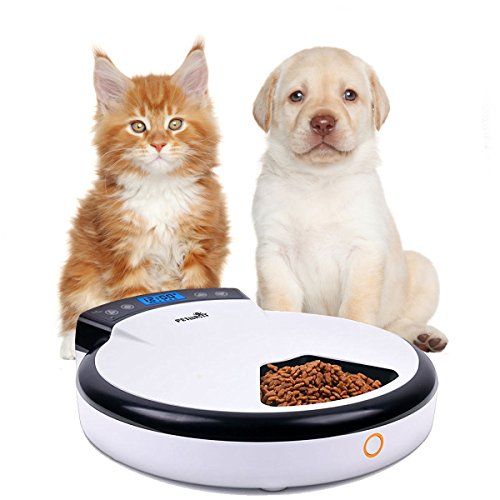 Automatic Pet Feeder with Voice Reminding, Electronic Food Dispenser 5-Meal for Dogs Cats For Dry &Wet Food (5 Food Compartments Tray)