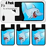 Liili Phone Card holder sleeve/wallet for iPhone Samsung Android and all smartphones with removable microfiber screen cleaner Silicone card Caddy(4 Pack) Angry Shark Cartoon IMAGE ID 13281546