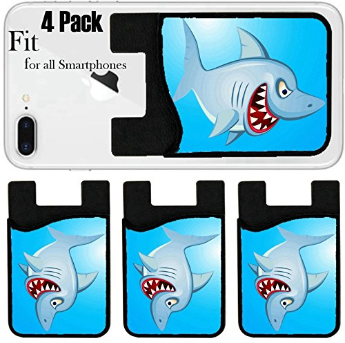 Liili Phone Card holder sleeve/wallet for iPhone Samsung Android and all smartphones with removable microfiber screen cleaner Silicone card Caddy(4 Pack) Angry Shark Cartoon IMAGE ID 13281546 by Liili