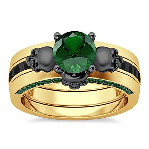 Silvergemking Invisible Set Green Garnet Sim Diamonds Skull Interchangable Ring 14K Yellow Gold Plated ()
