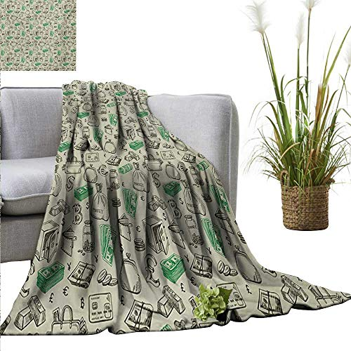 AndyTours Weighted Blanket,Money,Symbols of Monetary Systems Dollar Crypto Currency Bitcoin Sign Sketch,Pale Green Lime Green,300GSM, Super Soft and Warm, Durable 60