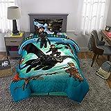 Franco - Juego de Ropa de Cama para niños, Suave edredón con sábanas y Almohada de Felpa, 5 Piezas, tamaño Doble, cómo Entrenar a tu dragón