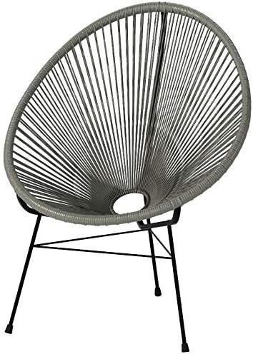 Acapulco Woven Basket Lounge Chair, Set of 2, Grey