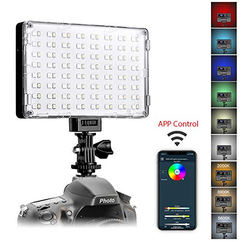 GVM RGB LED Video Light with APP Control Full Color Output Camera Light CRI97 Dimmable 2000K-5600K Brightness for YouTube DSLR Camera Camcorder, with Battery, Charger, Filter, LCD Display, Carry Case