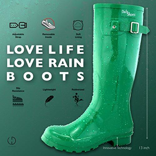 DailyShoes Damen Mittelkalb Kniestrumpf Hunter Regen Round Toe Rainboots Grün