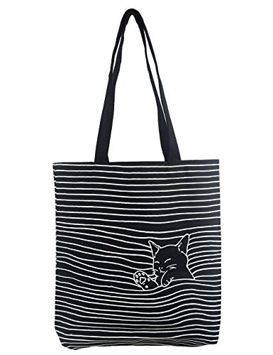 Cat Tote Bag (POPUCT Women's Cute Cat Canvas Tote Shopping Bag(Black-1))