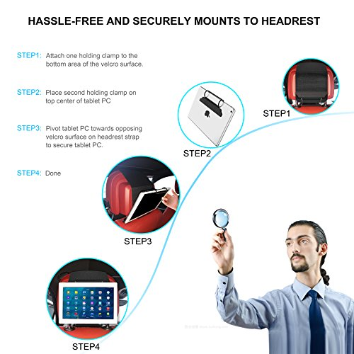 Universal Car Headrest Mount Holder, Dansrue Car Back Seat Holder for ALL 7 Inch to 11 Inch Tablets – Apple iPad, iPad Mini 2/3/4, iPad Air, iPad Pro 9.7″, Samsung Galaxy Tab & Note and More