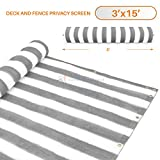 3' x 15' Gray (Grey) with White Stripes Residential Commercial Privacy Deck Fence Screen 200 GSM Weather Resistant Outdoor Protection Fencing Net for Balcony Verandah Porch Patio Pool Backyard Rails