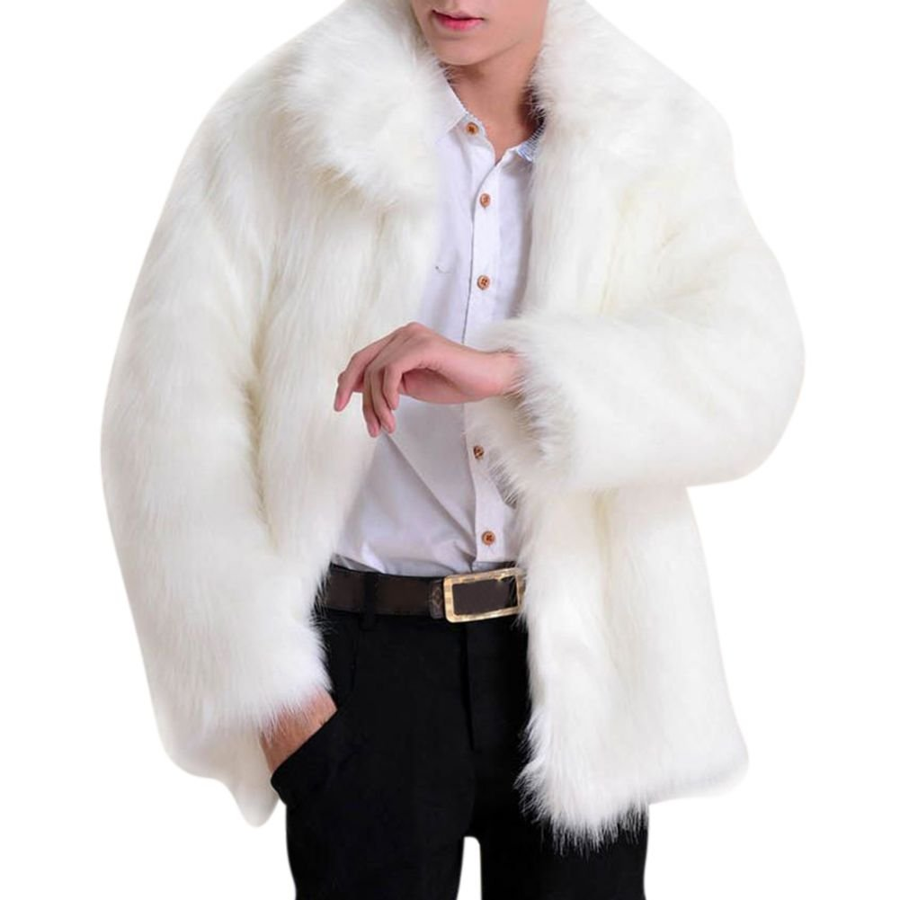 Froomer Men Long Sleeve Faux Fur Jacket Luxury Outwear Coat by Froomer
