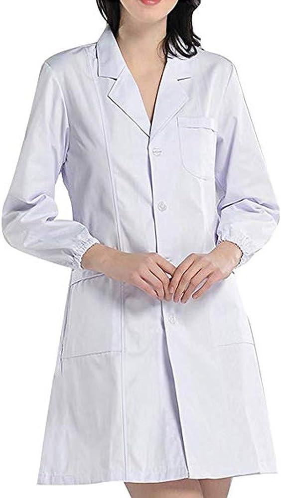Surfiiy - Blusa médica para Mujer, Color Blanco, Abrigo de Camisa para Mujer y Hombre, Varios Bolsillos, Elegante, semisastral, Manga Larga, Camisa de Trabajo, S - 3XL Bianco M: Amazon.es: Ropa y