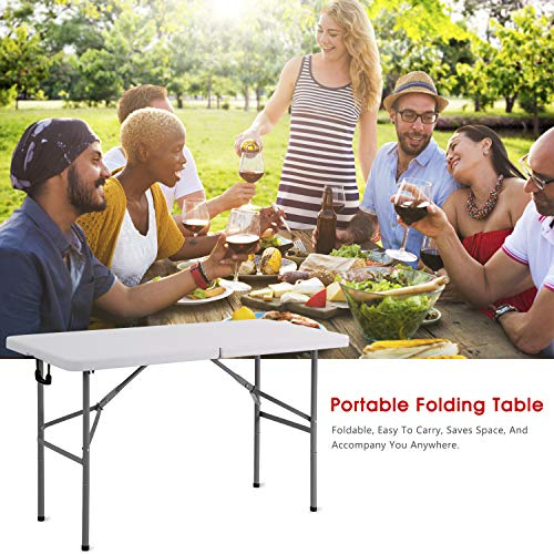 Mieres Collapsible Rectangle Desk, Folding Plastic Dining Table for Backyard, Picnic, Party, Camping, White, 45 24 White1