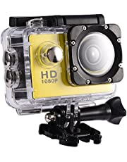 Action Camera 12MP Waterproof 30m Outdoor Sports Video DV Camera 1080P Full HD LCD Mini Camcorder with 900mAh Rechargeable Batteries and Mounting Accessories Kits(Yellow)