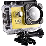 Acouto Action Camera Ultra HD 1080P 12M 2 Inch Screen Wifi Sport Cam 90 Degree Wide Angle Underwater 30m with Waterproof Housing Case and More Accessories Kits (yellow)