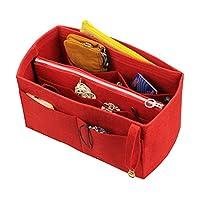 [Fits Neverfull GM/Speedy 40, Red] Felt Organizer (w/Detachable Zipper Bag), Tote Felt Purse Insert, Cosmetic Makeup Diaper Handbag, Zipped Belongings Pocket