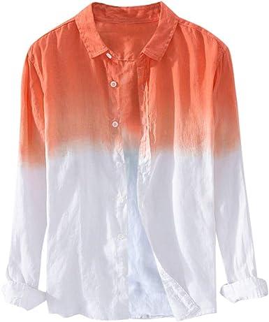 HucodeVan Camisas Hombre Manga Larga Cuello Fresco Fino Transpirable Verano Que Cuelga Teñido Degradado Camisa de Algodón Lino Camisa de Gradiente Remera: Amazon.es: Ropa y accesorios
