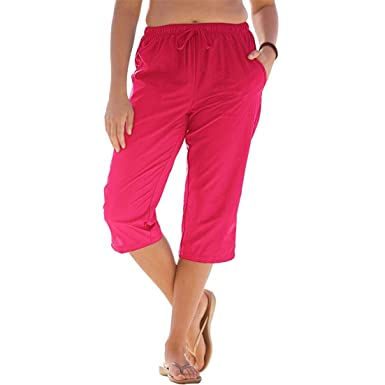 5d0c5b8e8282e Woman Within Plus Size Taslon Capri Pants - Red