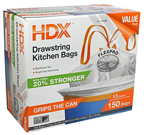HDX HDX716866 13 gal Kitchen Drawstring White Trash Bag