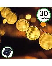 Stringa di Luci Catena Luminosa Lanternine 30 LED - Bawoo Lampada atmosfera 6M a Energia Solare Lanterne Cinesi Striscia Led Impermeabile Interno Esterno Giardino Feste