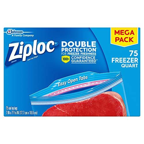 Ziploc Freezer Bags, Quart, 75 ct