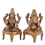 Hashcart Premium Laxmi Ganesh Brass Statue for Diwali / Home Décor / Office / Gift - (2.9 Inch)