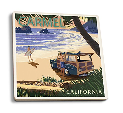 Lantern Press Carmel, California - Woody on The Beach (Set of 4 Ceramic Coasters - Cork-Backed, Absorbent)