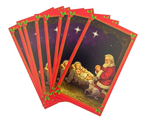 - Christmas Kneeling Adoring Santa with Baby Jesus Holy Card with Glory to God Prayer on the back (10 pack)