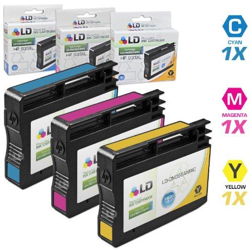 LD © Remanufactured Set of 3 Replacement Ink Cartridges for Hewlett Packard (HP 933XL) - 1 Cyan CN054AN, 1 Magenta CN055AN, 1 Yellow CN056AN