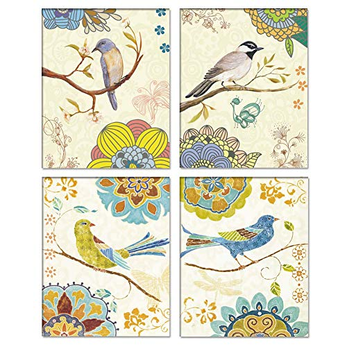 Vintage Style Bird and Colorful Flower Wall Art On Canvas Painting,Natural Branch Art Picture Prints(Set of 4) 8x10 UNFRAMED Wall Decoration for Living Room Home Decor ,Excellent Gift