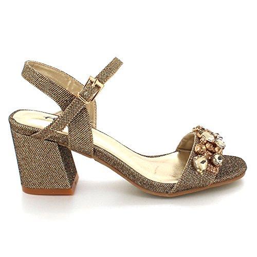 Fiesta la Paseo Tacón Diamante Zapatos Tamaño Medio Tarde Nupcial Marrón Sandalias de Mujer Crystal de Boda Bloque Señoras xqRRUX0